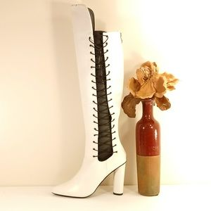 White Corset Over-The-Knee Boot